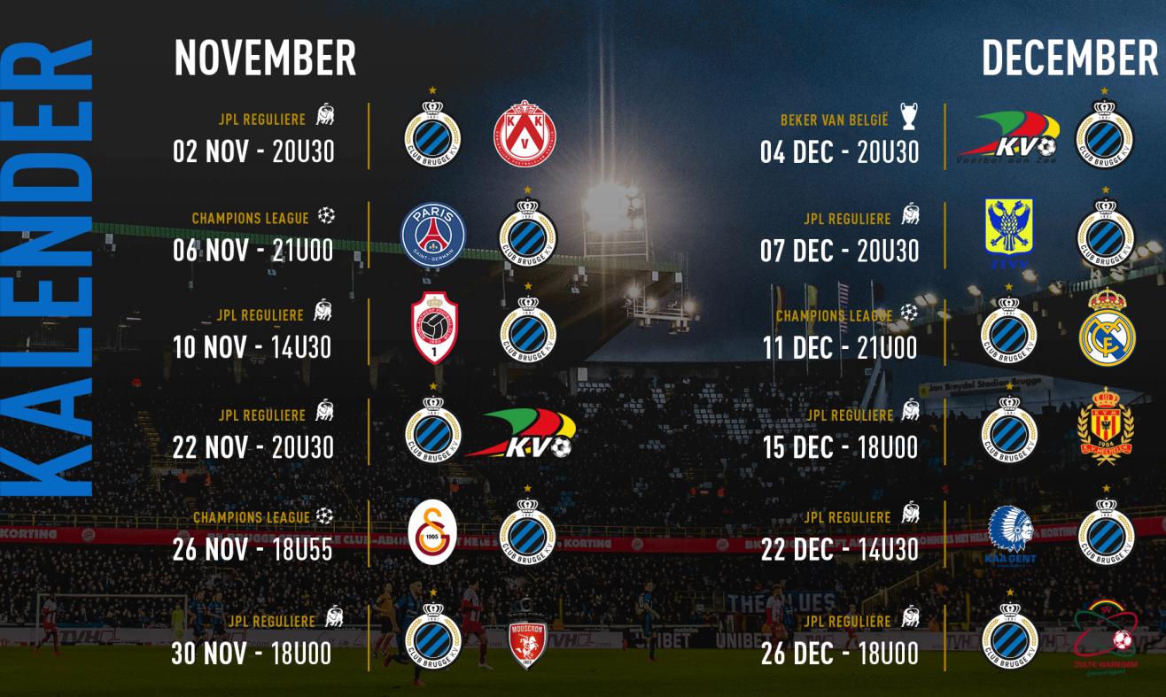 Kalender Club Brugge